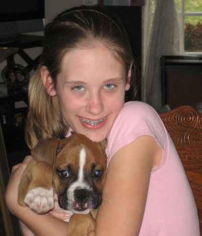 Taylor with puppy